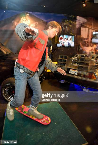 Marty McFly mannequin next to the Back To The Future DeLorean at Hollywood Museum's Back To The Future Trilogy The Exhibit at The Hollywood Museum on...