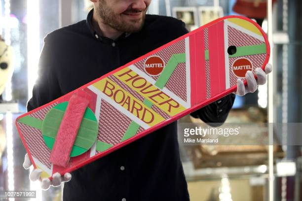 Marty McFly's Mattel hoverboard from Back to the Future Part II seen during the TV Memorabilia Auction preview Photocall at BFI IMAX on September 6...
