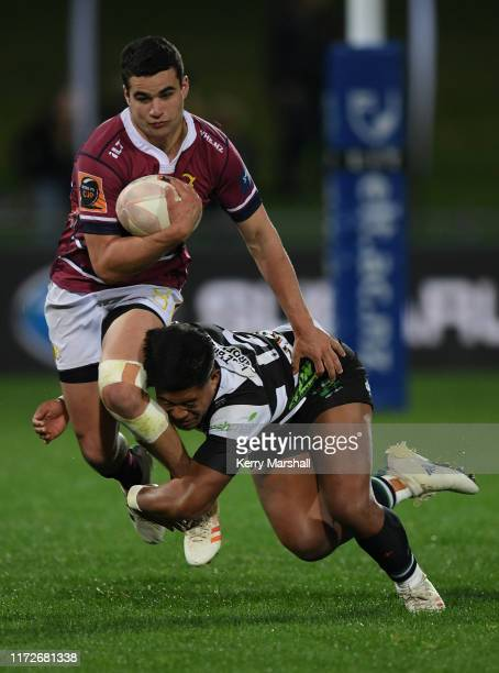 Marty McKenzie of Southland is tackled during the round 5 Mitre 10 Cup match between Hawke's Bay and Southland at McLean Park on September 06, 2019...