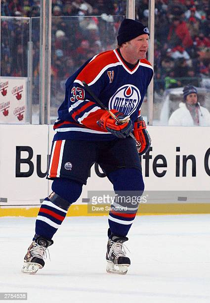 Marty McSorley of the Edmonton Oilers skates against the Montreal Canadiens during the Molson Canadien Heritage Classic Megastars Game on November 22...