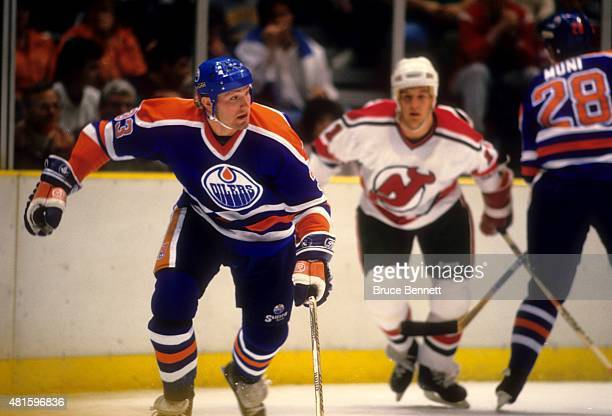 Marty McSorley of the Edmonton Oilers skates on the ice during an NHL game against the New Jersey Devils circa 1986 at the Brendan Byrne Arena in...