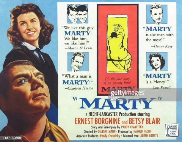 Betsy Blair Ernest Borgnine right clockwise Dean Martin Jerry Lewis Danny Kaye Jane Russell Charlton Heston on poster art 1955