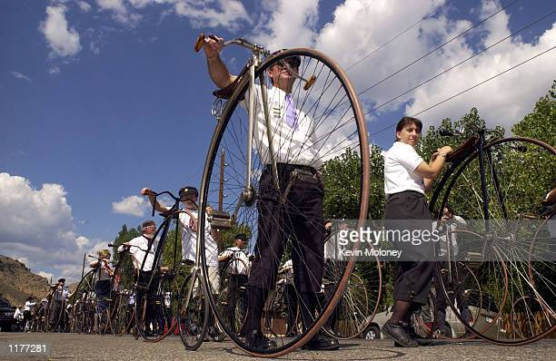 Marty Potts of East Peoria Illinois and other members of The Wheelmen an international organization that promotes the restoration and use of antique...