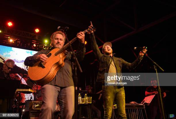 Marty Roe of Diamond Rio and singer Cole Swindell perform at Marathon Music Works on March 13 2018 in Nashville Tennessee