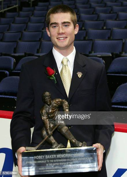 Marty Sertich of Colorado College poses with the Hobey Baker Award on April 8, 2005 during the Hobey Baker Award Ceremony at Nationwide Arena in...