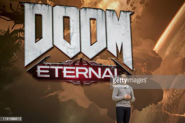 Marty Stratton executive producer for id Software speaks during a Google event at the Game Developers Conference in San Francisco California US on...