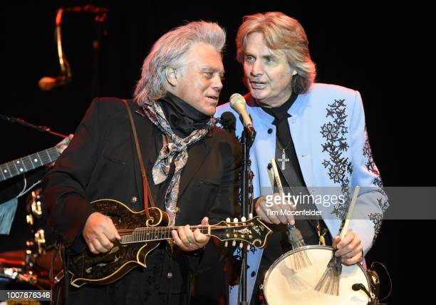 Marty Stuart and Harry Stinson perform during the Sweetheart of the Rodeo Reunion at The Mountain Winery on July 29, 2018 in Saratoga, California.