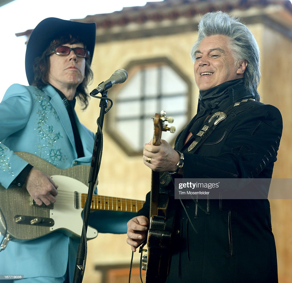 Marty Stuart (R) performs as part of the Stagecoach Music Festival at the Empire Polo Grounds on April 27, 2013 in Indio, California.