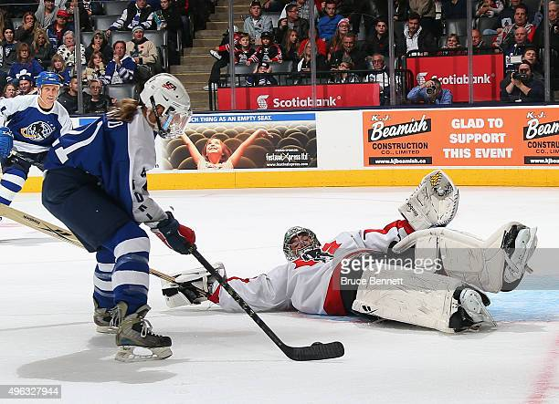 Marty Turco hits the ice to stop Cammi Granato at the Legends Classic game at the Air Canada Centre on November 8 2015 in Toronto Ontario Canada