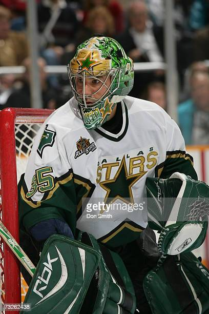 Marty Turco of the Dallas Stars follows the action during a game against the San Jose Sharks on January 30 2007 at the HP Pavilion in San Jose...