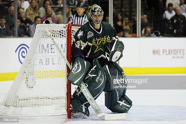 Marty Turco of the Dallas Stars gets set for a shot on goal from the Vancouver Canucks during game three of the 2007 NHL Western Conference...