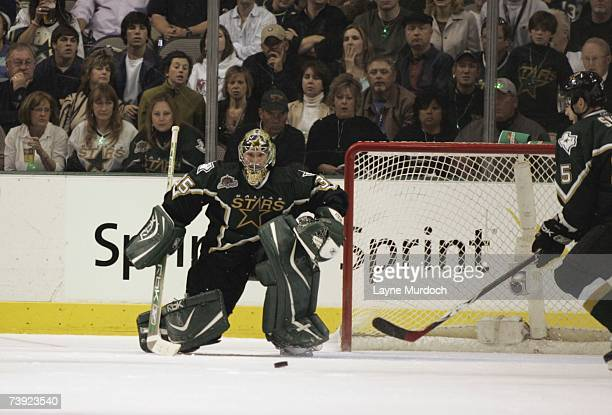 Marty Turco of the Dallas Stars makes a save against the Vancouver Canucks during game three of the 2007 NHL Western Conference Quarterfinals at...