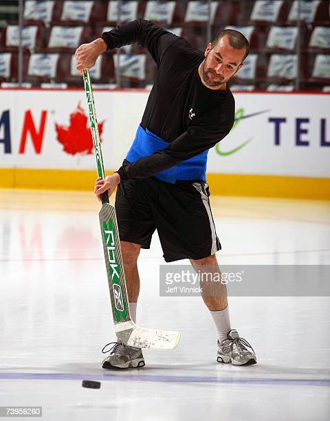 Marty Turco of the Dallas Stars shoots the puck around before the start of game seven 2007 Western Conference Quarterfinal game at General Motors...