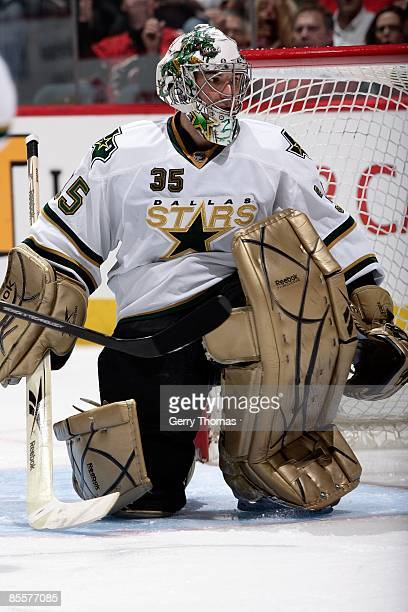 Marty Turco of the Dallas Stars skates in net against the Calgary Flames on March 18, 2009 at Pengrowth Saddledome in Calgary, Alberta, Canada. The...