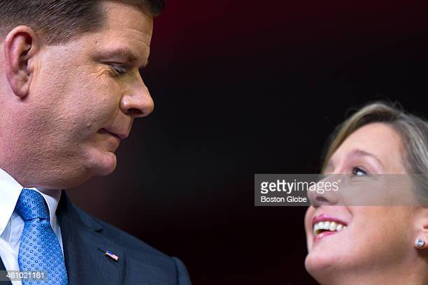 Marty Walsh and his longtime girlfriend Lorrie Higgins share a look moments after he was sworn in as mayor of Boston during an inauguration ceremony...
