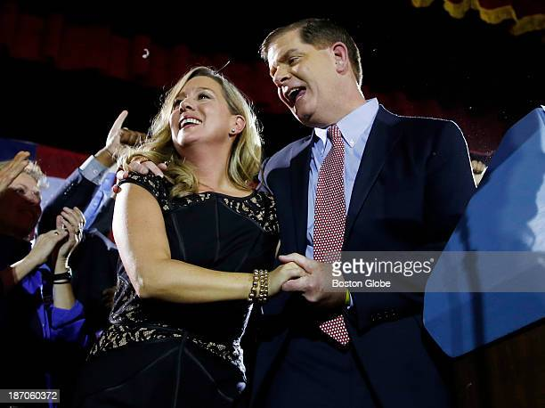 Marty Walsh celebrates with his longtime partner Lorrie Higgins at his Election Night party at the Park Plaza hotel in Boston Nov 5 2013
