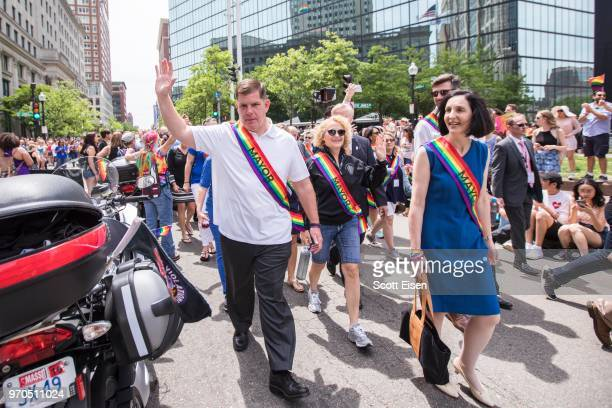 Marty Walsh mayor of Boston marches alongside dozens of mayors from around the country during the 2018 Boston Pride Parade on June 9 2018 in Boston...