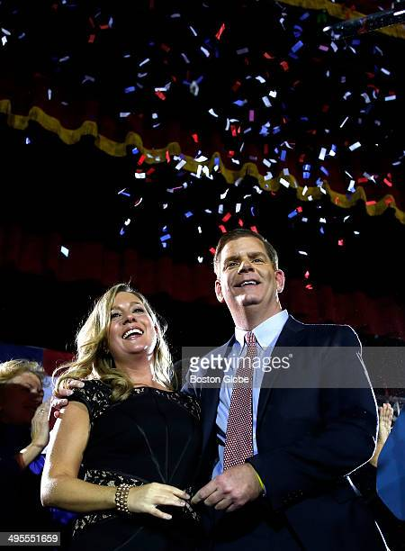 Marty Walsh with his longtime partner Lorrie Higgins at his Election night party at the Park Plaza hotel in Boston Mass on November 5 2013