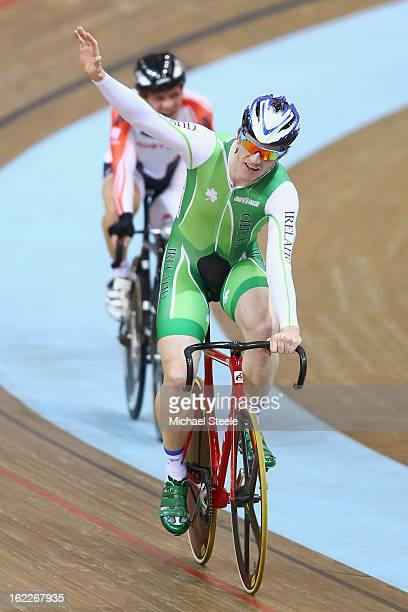 Martyn Irvine of Ireland celebrates winning gold in the men's scratch race final during day two of the UCI Track World Championships at Minsk Arena...