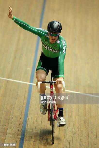 Martyn Irvine of Ireland celebrates winning the Men's points race on day two of the UCI Track Cycling World Cup at Manchester Velodrome on November...