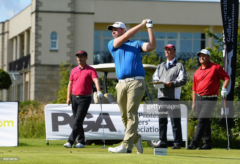 Martyn Jobling of Morpeth Golf Club plays his first shot on the 1st tee during the Golfbreaks.com PGA Fourball Championship - Day 3 at Whittlebury Park Golf & Country Club on August 18, 2017 in Towcester, England.