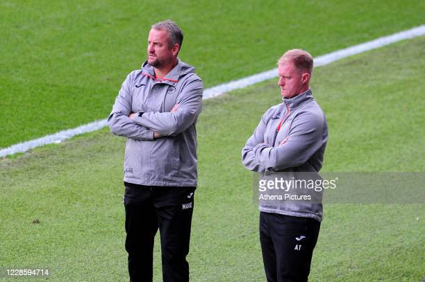 Martyn Margetson goalkeeping and set piece coach for Swansea City and Alan Tate First Team Coach of Swansea City during the Sky Bet Championship...