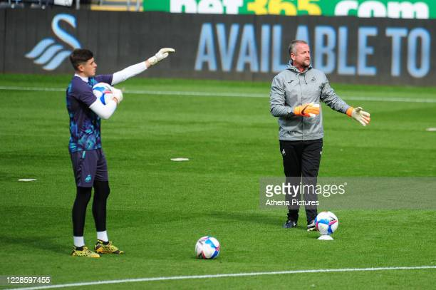 Martyn Margetson goalkeeping and set piece coach for Swansea City during the prematch warmup for the Sky Bet Championship match between Swansea City...