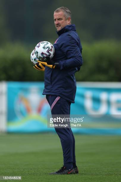 Martyn Margetson Goalkeeping Coach of England looks on during the England Training Session at Tottenham Hotspur Training Ground on June 20, 2021 in...