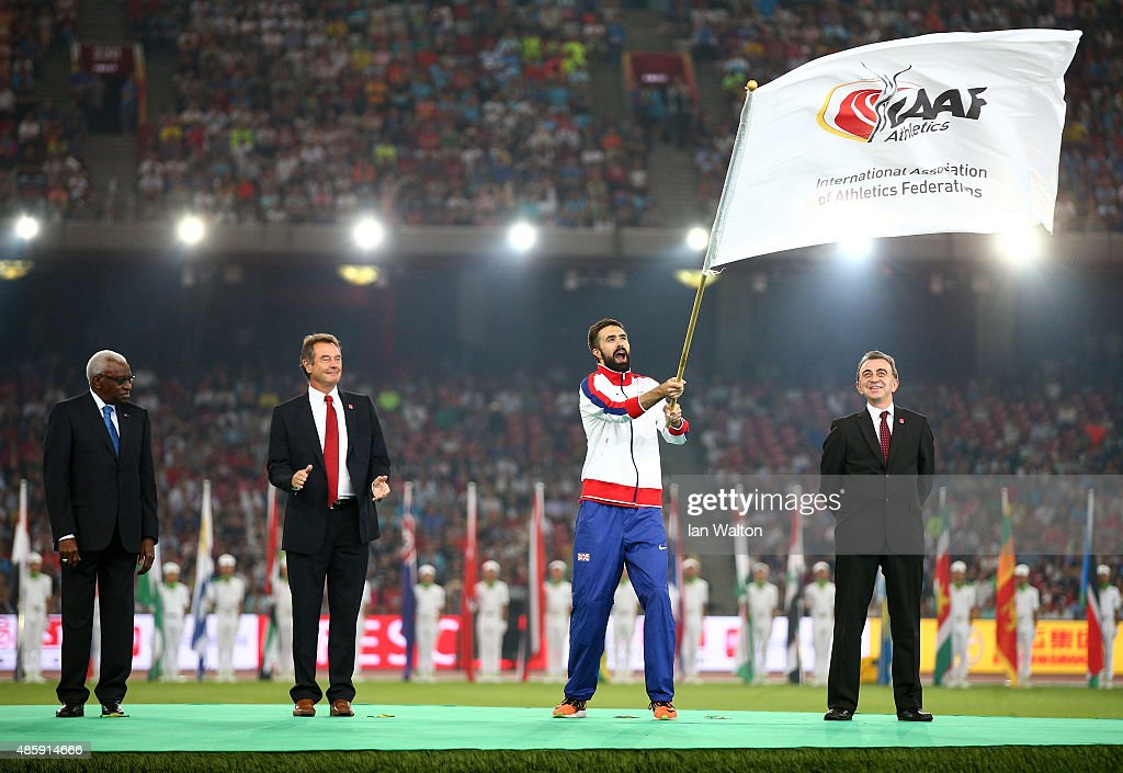Martyn Rooney Captain of Great Britain waves the IAAF flag during the closing ceremony during day nine of the 15th IAAF World Athletics Championships Beijing 2015 at Beijing National Stadium on August 30, 2015 in Beijing, China.