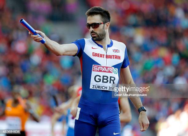 Martyn Rooney of Great Britain and Northern Ireland celebrates in the Men's 4x400 metres relay heats during day five of the 22nd European Athletics...