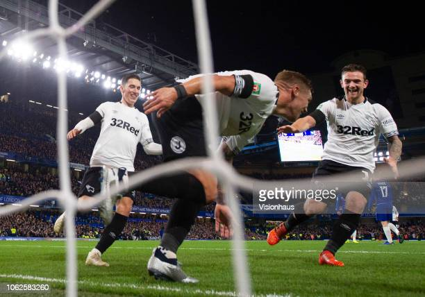 Martyn Waghorn celebrates his goal for Derby County with Harry Wilson and Jack Marriot during the Carabao Cup Fourth Round match between Chelsea and...