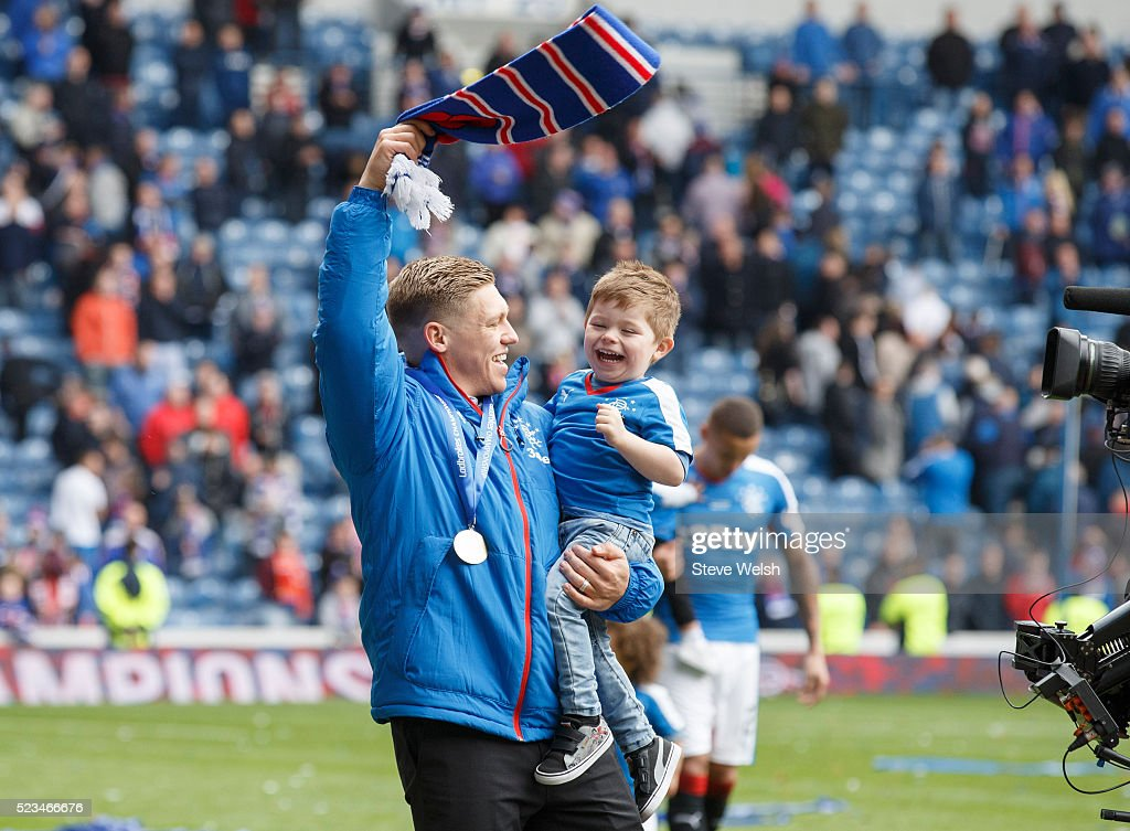 Martyn Waghorn celebrates with his son after the Scottish Championship match between Rangers and Alloa Athletic Scottish at Ibrox Stadium April 23, 2016 in Glasgow, United Kingdom.