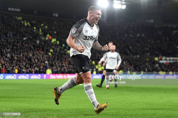 Martyn Waghorn of Derby County celebrates after scoring his sides first goal during the Sky Bet Championship match between Derby County and Stoke...