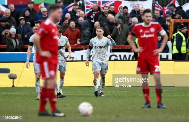 Martyn Waghorn of Derby County celebrates after scoring his team's first goal during the FA Cup Fourth Round match between Accrington Stanley and...