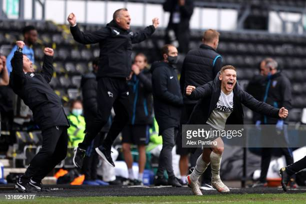 Martyn Waghorn of Derby County celebrates at the end of the Sky Bet Championship match between Derby County and Sheffield Wednesday at Pride Park...