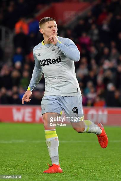 Martyn Waghorn of Derby County celebrates scoring in the penalty shoot out during the FA Cup Third Round Replay match between Southampton FC and...