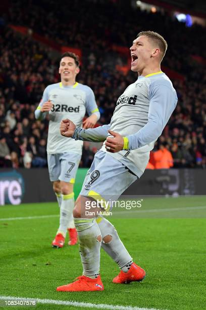 Martyn Waghorn of Derby County celebrates scoring their second goal during the FA Cup Third Round Replay match between Southampton FC and Derby...