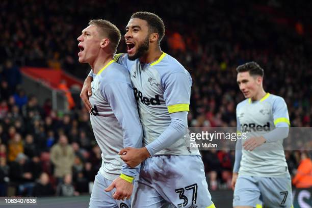 Martyn Waghorn of Derby County celebrates with Jayden Bogle after scoring their second goal during the FA Cup Third Round Replay match between...