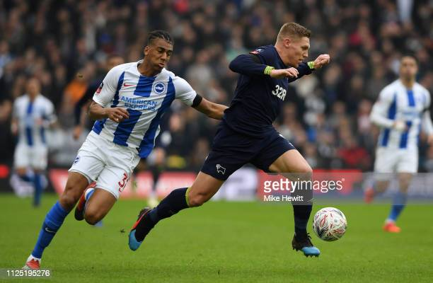 Martyn Waghorn of Derby County gets away from Bernardo Fernandes da Silva of Brighton and Hove Albion during the FA Cup Fifth Round match between...