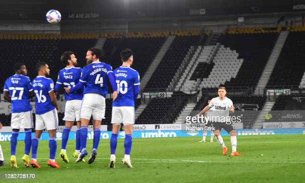 Martyn Waghorn of Derby County scores a free kick during the Sky Bet Championship match between Derby County and Cardiff City at Pride Park Stadium...