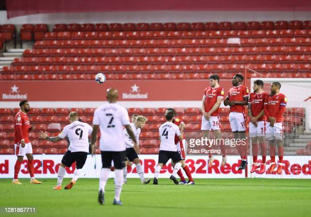 Martyn Waghorn of Derby County scores his team's first goal from a free-kick during the Sky Bet Championship match between Nottingham Forest and...