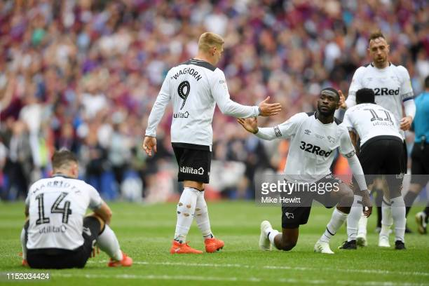 Martyn Waghorn of Derby County shakes hands with his team mates following his teams defeat during the Sky Bet Championship Playoff Final match...