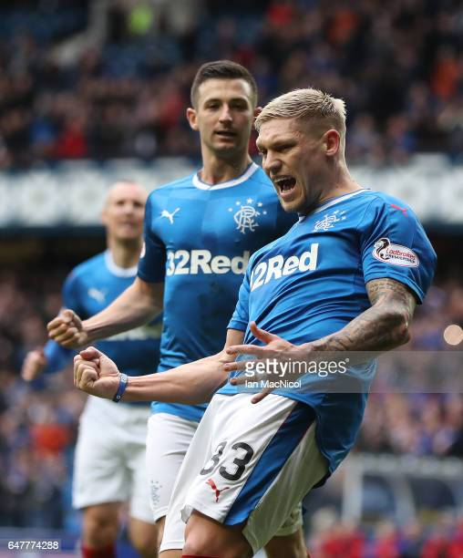 Martyn Waghorn of Rangers celebrates after he scores from the penalty spot during the Scottish Cup Quarter final match between Rangers and Hamilton...