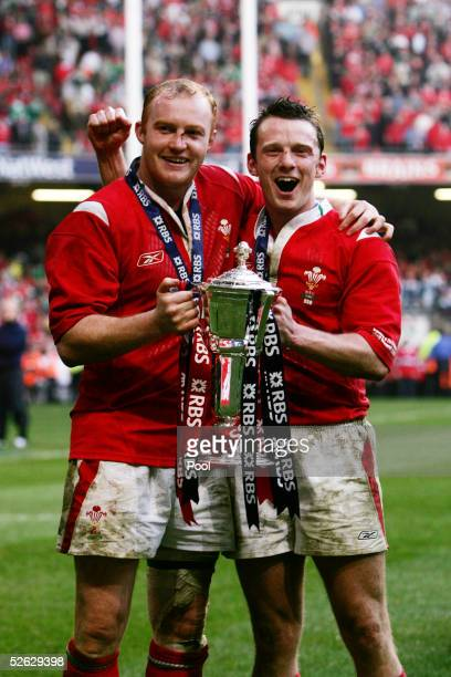 Martyn Williams and Kevin Morgan of Wales celebrate with the Trophy during the RBS Six Nations International between Wales and Ireland at The...