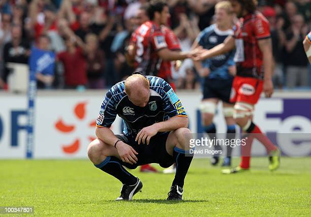 Martyn Williams of Cardiff looks dejected after Toulon's Sonny Bill Williams scores the first try during the Amlin Challenge Cup Final between Toulon...