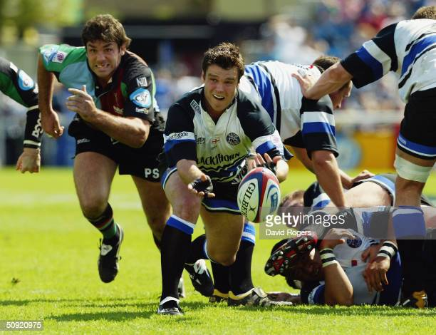 Martyn Wood of Bath in action during the Zurich Premiership match between Harlequins and Bath at The Stoop Memorial Ground on May 2 2004 in...