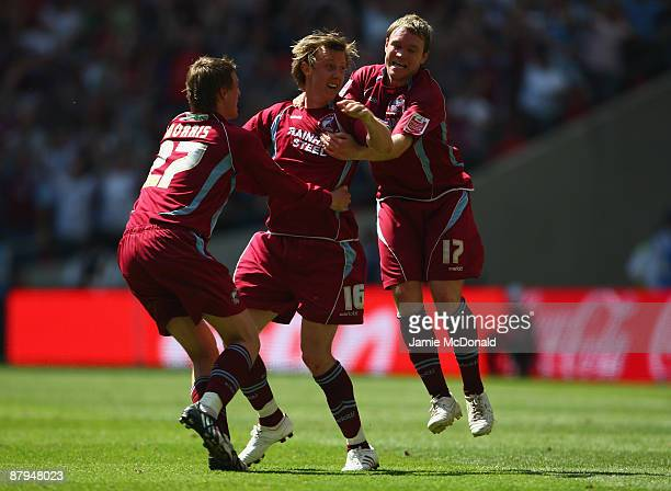 Martyn Woolford scores the winning goal for Scunthorpe during the Coca-Cola League One Playoff Final between Millwall and Scunthorpe United at...
