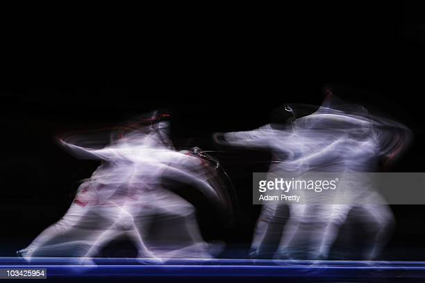 Martyna Swatowska of Poland in action againts Katherine Holmes of the USA during the Cadet Female Individual Epee Bronze medal match on day three of...