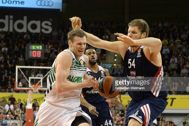 Martynas Pocius #7 of Zalgiris Kaunas in action during the 20132014 Turkish Airlines Euroleague Top 16 Date 8 game between FC Bayern Munich v...