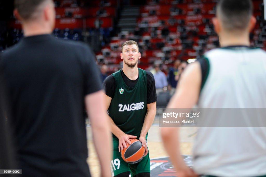 Martynas Sajus, #19 of Zalgiris Kaunas during the 2018 Turkish Airlines EuroLeague F4 Zalgiris Kaunas Official Practice at Stark Arena on May 17, 2018 in Belgrade, Serbia.